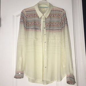 Anthropologie Maeve Embroidered Button Down